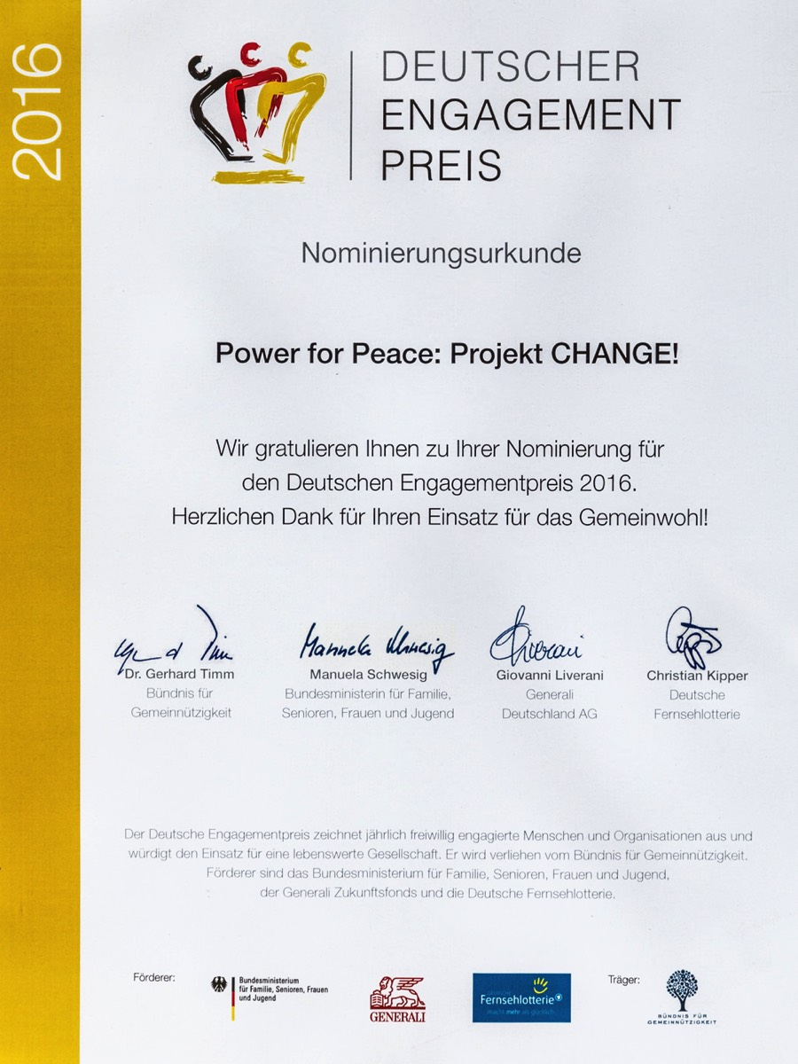 Power for Peace Urkunde Deutscher Engagement Preis 2016