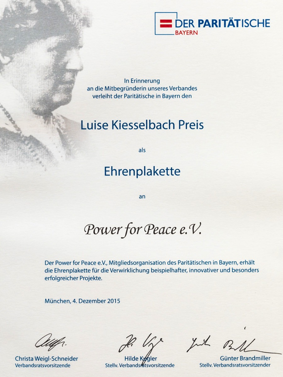 Power for Peace Urkunde Luise Kiesselbach Preis 2015